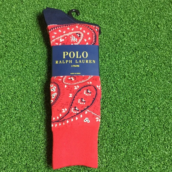 01555f535 Ralph Lauren Polo Red Bandana Print Two Pack Socks